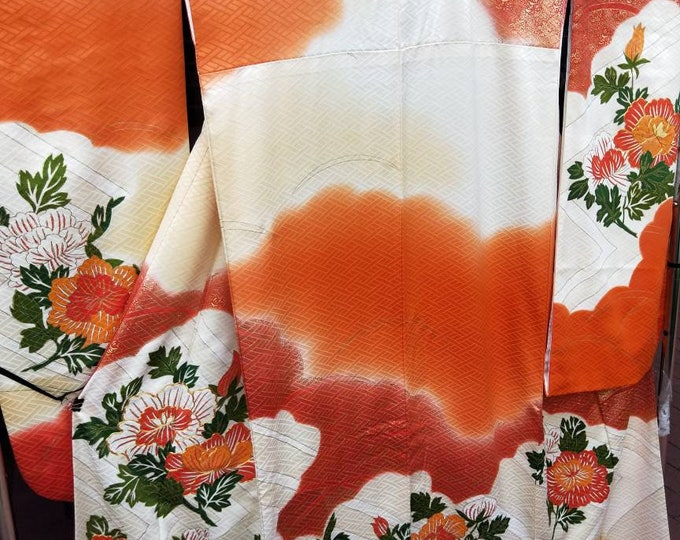 Vintage Japanese cream and orange rinzu silk Furisode kimono w/ peony flowers. Some gold embroidered accents.