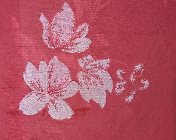 Vintage 1950's rayon Japanese kimono fabric 92 cm x 36 cm dusky salmon pink omeshi style