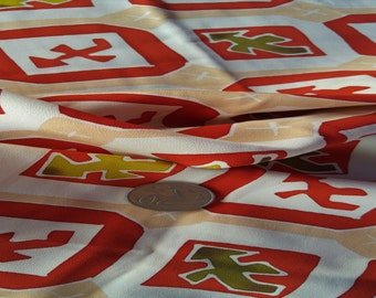 "Vintage Japanese silk kimono fabric 92 cm x 36 cm abstract pictographs 36"" x 14"""