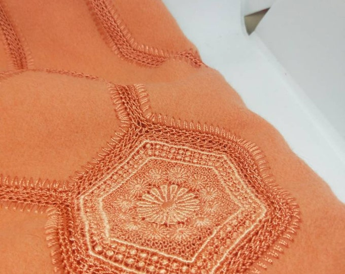 Vintage Japanese shawl for kimono. Apricot orange felted wool w/ lace crochet detail and trim. Soft, warm and wonderful. Absolutely elegant.