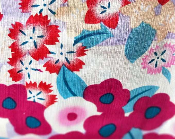 nadeshiko, bell flowers and camellia new with tages Japanese cotton yukata kimono Hemp and cotton blend