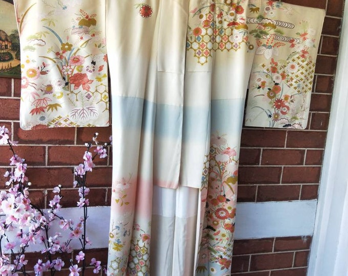 Vintage Japanese cream,  pink and pastel blue tsukesage kimono flowers / floral hand stitched