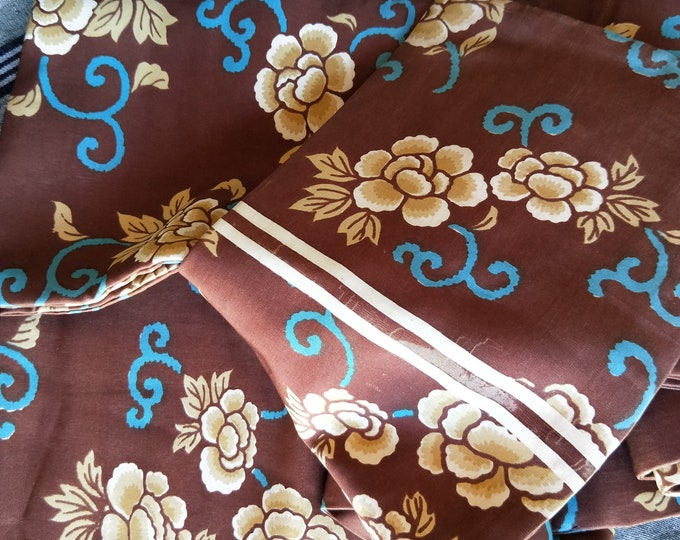 Vintage Japanese silk Hanhaba (half-width obi)  peony flowers with turquoise accents on soft brown ground for Kimono