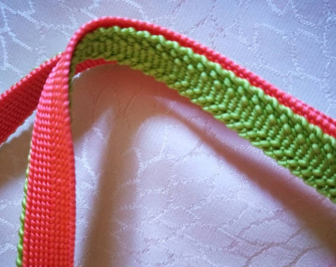 Vintage Japanese silk kumihimo obijime cord for obi  bright lime green and vivid pink hand woven, flat type.