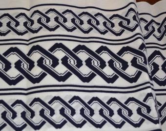 """Vintage Japanese cotton yukata kimono fabric 92cm x 34 cm indigo blue white 36"""" x 14"""""""