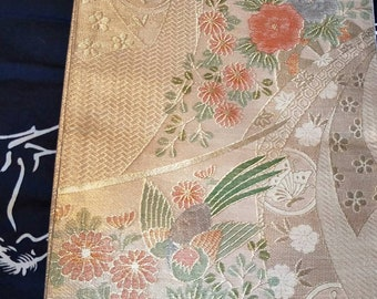 Vintage Japanese fukuro  woven birds and peony flowers . Gold reverse.
