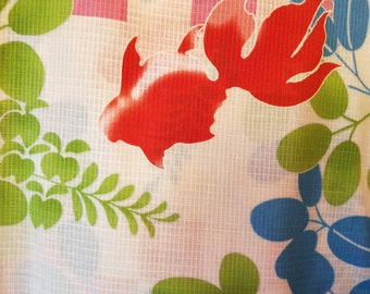 On Sale Brand New Japanese cotton yukata kimono 100% cotton goldfish koi pattern.