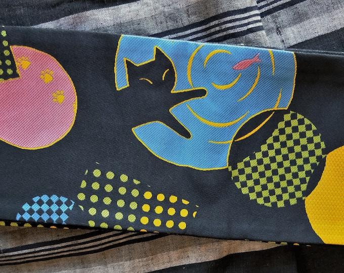 Hanhaba (half-width obi)  obi with retro pop pattern of naughty neko cat catching gold koi fish for kimono