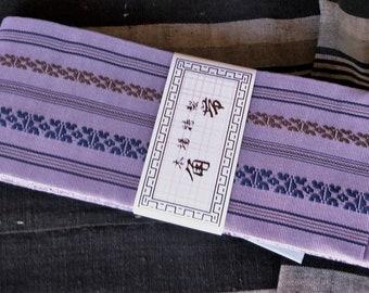 Mens kaku obi with textured woven pattern dark ochre soft muted purple, stripe reverse for kimono