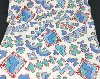 "Vintage American Feed sack fabric 1940's original not reproduction fat quarter 18"" x 20"" atomic pop geometrics in turquoise, blue and red"