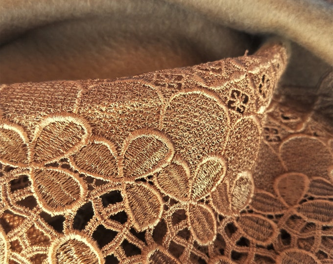 Vintage Japanese lace and felted wool shawl for kimono warm brown with bronze lace detail