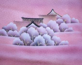 Vintage Japanese purple Houmongi silk kimono with woven sayagata pattern and painted temple.