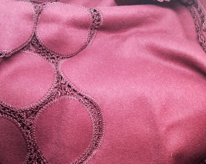Vintage Japanese shawl for kimono. Wine red felted wool with crochet detail and trim. Soft, warm and wonderful. Sumptuous.