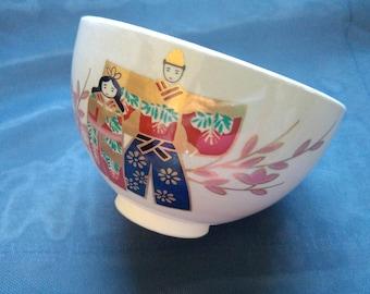 Japanese Kyo-yaki hand painted vintage tea bowl. HinaMatsuri festival