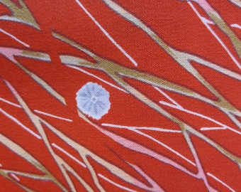 "Vintage Japanese orange summer wool blend kimono fabric grass and flowers 92 cm x 36 cm / 36"" x 14"""