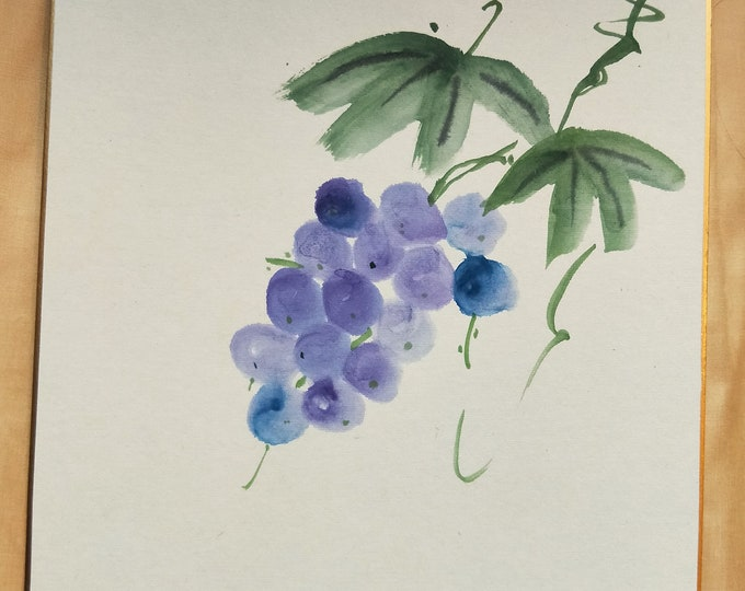 Vintage Hand painted Japanese shikishi  paintings Japanese grapes on the vine