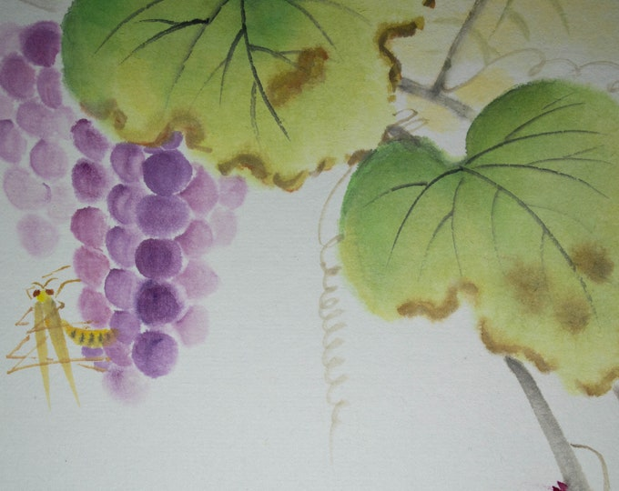 Vintage Hand painted Japanese shikishi paintings grapes with grasshopper signed. Delicate and subtle