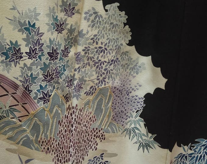 Vintage Japanese formal tomosode kimono with flowers and garden with hiyoku