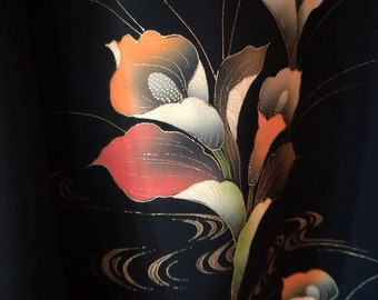 Vintage Japanese hand stitched silk haori  kimono jacket black with vibrant yuzen painted arum lilies flowers, pink rose lining