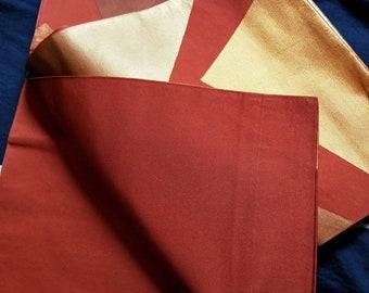 Vintage Japanese fukuro silk  woven abstract shikishi in burnt orange, copper and bronze metallic thread.