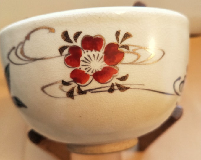 Japanese Kyo-yaki hand painted vintage tea bowl. Sakura cherry blossoms red and white ceramic teabowl. Signed.