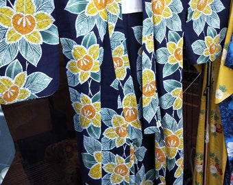 Vintage Japanese cotton yukata kimono indigo blue With pattern of  persimmon, hand stitched dyed  100% cotton. lovely