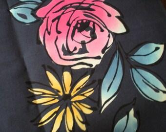 Vintage Japanese cotton yukata kimono fabric 92cm x 34 cm 1yd roses grey blue