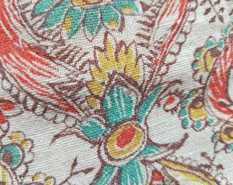 """Vintage American Feed sack fabric fat quarter 18"""" x 22' cotton paisley and floral arabesque open weave"""