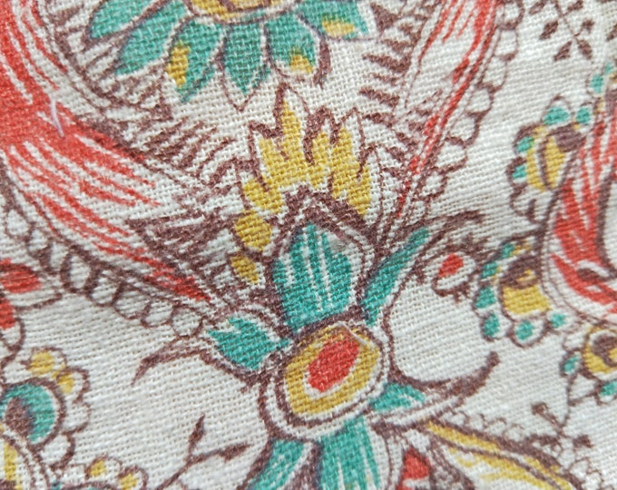 "Vintage American Feed sack fabric fat quarter 18"" x 22' cotton paisley and floral arabesque open weave"