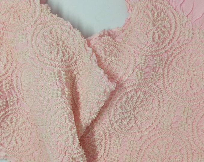 Vintage Japanese rinzu silk kimono obi-age baby pink coloured silk with shibori 120 cm long. Flower wheels.