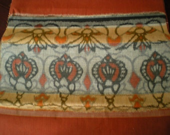 "Vintage Japanese cotton kimono fabric 92 cm x 33 cm classical geometrics brown 36"" x 13"""