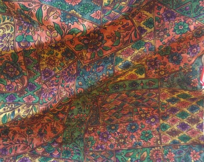 "Vintage Japanese silk kimono fabric 92 cm x 36 cm sarasa patchwork flowers autumn shades 36"" x 14"""