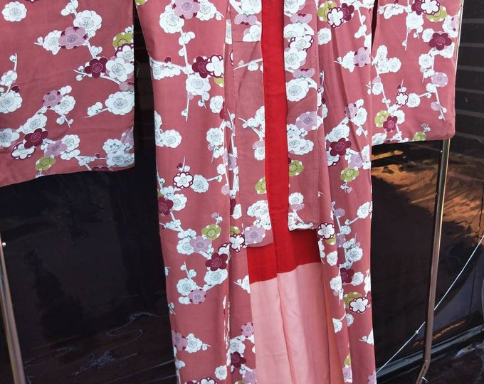 Antique Japanese deep coral pink /brown silk /rayon blend kimono abstract with stylised cherry blossoms.  1940's hand stitched. NOT MINT!