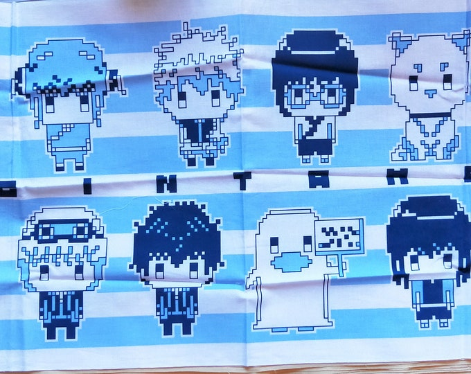 Vintage Japanese cotton tenugui printed digital pixel characters, dog and ghost.  Blue and white cotton
