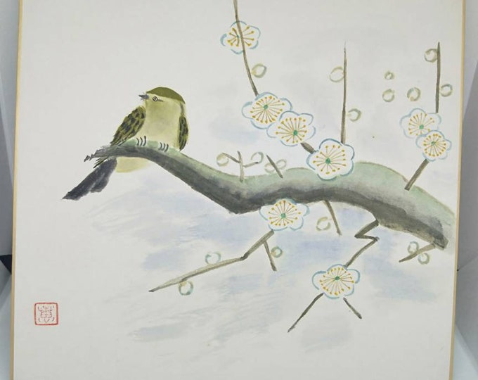 Vintage hand painted watercolour Japanese shikishi painting of bird in plum blossoms. Signed . Decorative art great for display.