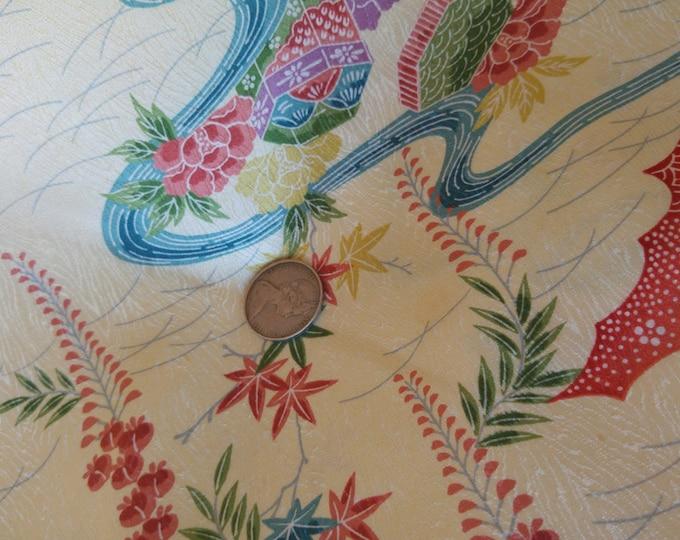 "Vintage Japanese silk rinzu kimono fabric 92 cm x 36 cm cream flowers letterbox 36"" x 14"""