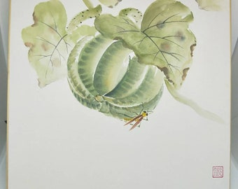 Vintage delicate hand painted watercolour Japanese shikishi painting of insect on a melon. Signed . Decorative art great for display.