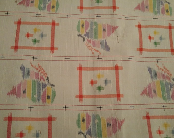 Vintage Japanese silk kimono fabric 92 cm x 36 cm raw silk floss woven tsumugi with butterfly pattern