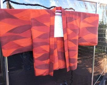 Vintage Japanese medium weight autumn shades rich Orange silk haori kimono jacket with colourful pattern floral lining. Excellent condition