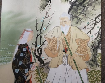 Vintage Japanese hand painted scroll kakejiku on silk Takasago signed #11 Old married couple with cranes on beach