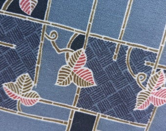 "Vintage Japanese blue summer wool blend kimono fabric leaves and geometrics 92 cm x 36 cm / 36"" x 14"""