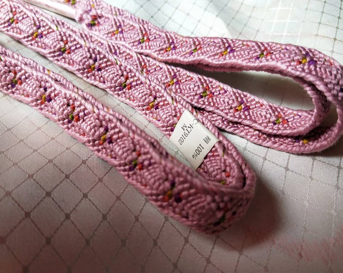 Vintage Japanese silk kumi himo obijime cord for obi pink and rainbow accents.  New unused, flat type.