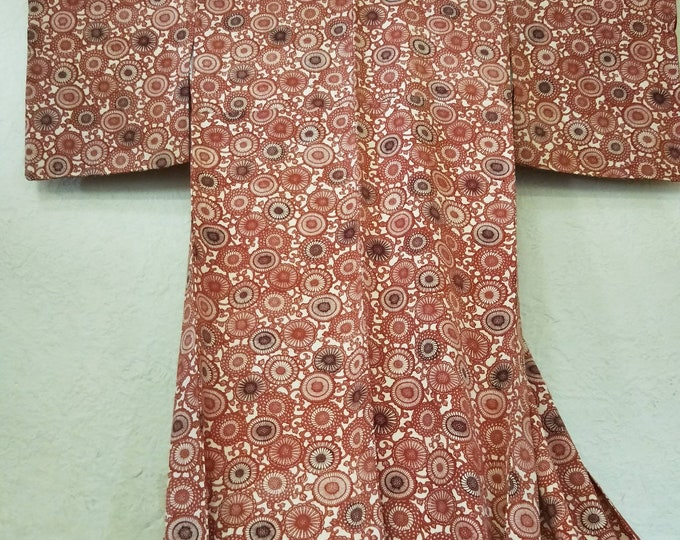 Vintage Japanese Kimono burnt Orange bingata stencil dyed pattern silk crepe.