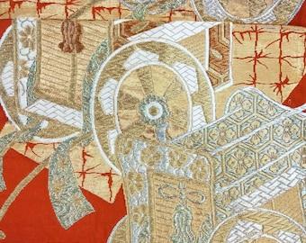 Vintage Japanese fukuro silk  woven royal carriage, gold and silver thread with deep burnt orange ground. Orange reverse.