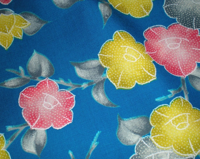 Blue camellia flowers Vintage Japanese wool kimono fabric 92 cm x 34 cm 1yd