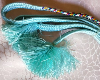 Vintage Japanese silk kumihimo obijime cord for obi woven multi colour accents with soft baby blue flat type.