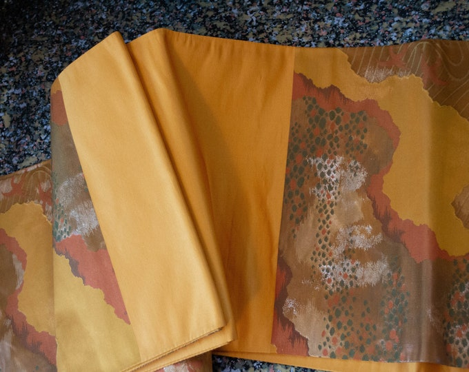 Vintage Japanese fukuro silk woven waves gold thread with warm ochre yellow reverse. Autumn shades and colours, orange w/green accents