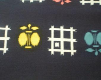 "Vintage Japanese cotton yukata kimono fabric 36"" x14"" (92 cm x 34 cm) moth & check"