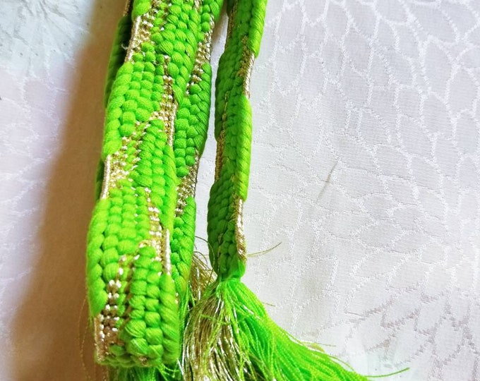 Vintage Japanese silk kumihimo obijime cord for obi vibrant lime with gold metallic thread woven pattern flat type.