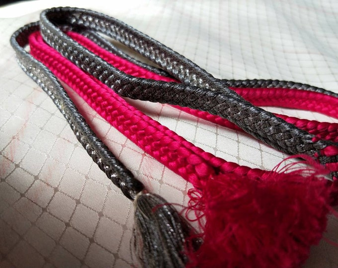 Vintage Japanese silk kumihimo obijime cord for obi  neon cerise pink and metallic pewter silver grey colour flat type.